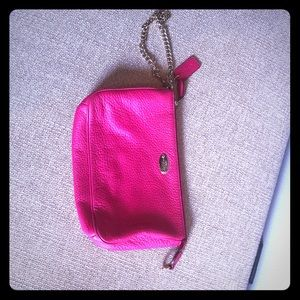 Hot pink pebble leather coach wristlet